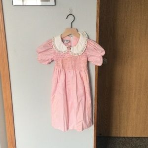 pink checkered collared dress w/flowers